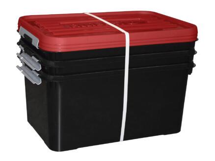 chaussures de sport 525df 6873d Allibert Handy+ boîte de rangement 50l rouge-noir 3 pièces