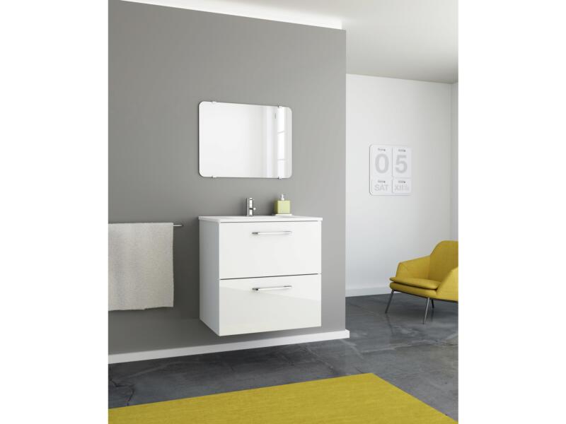 Happy meuble lave-mains + miroir 60cm 2 tiroirs blanc
