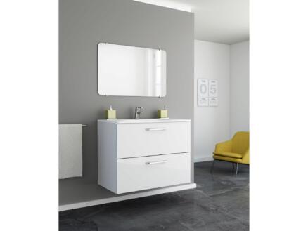 Happy wastafelkast met spiegel 80cm 2 lades wit