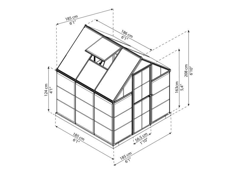 Palram Harmony serre 185x186x208 cm polycarbonaat