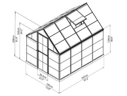 Palram Harmony serre 185x247x208 cm polycarbonaat