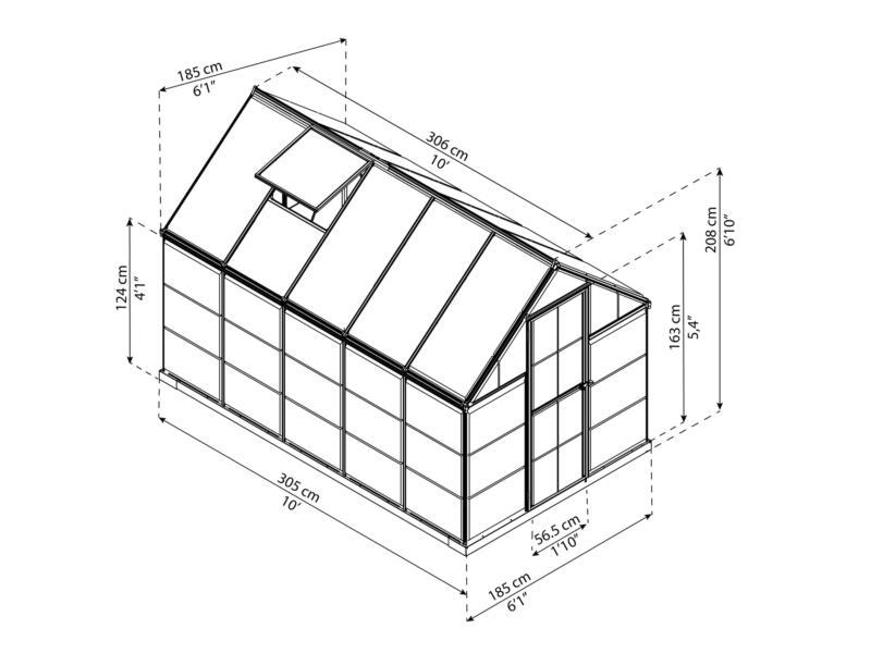 Palram Harmony serre 185x306x208 cm polycarbonaat