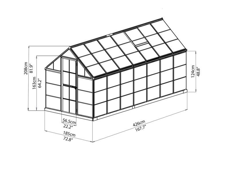 Palram Harmony serre 185x426x208 cm polycarbonaat