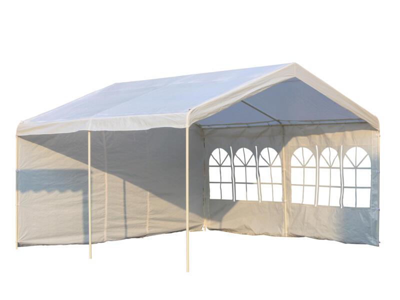 Garden Plus Heavy tonnelle chapiteau 400x400 cm + parois latérales blanc