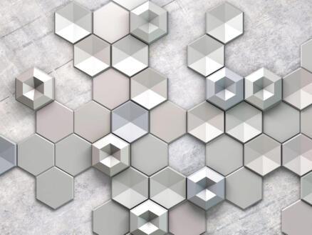Hexagon Concrete intissé photo numérique 4 bandes