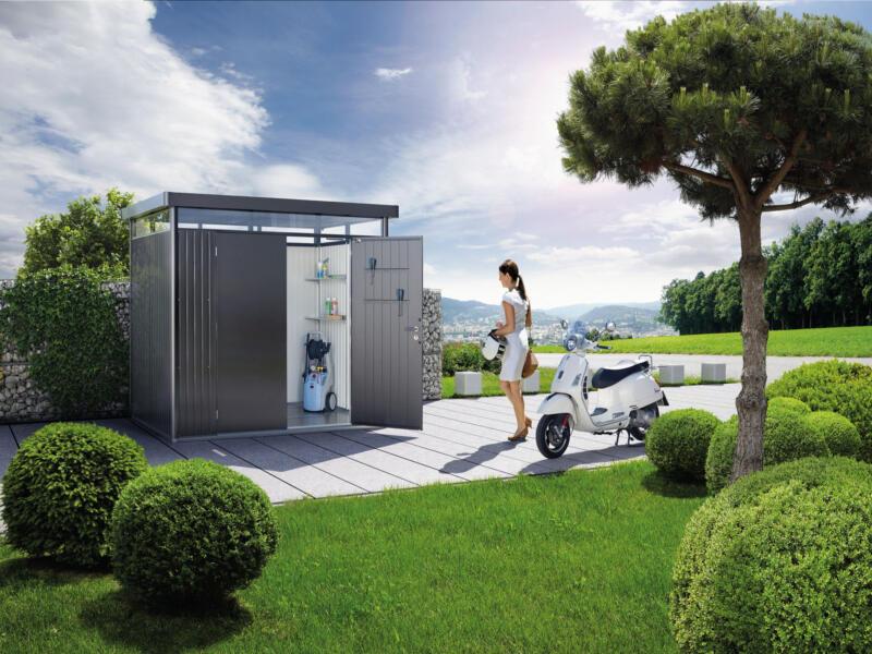 Biohort HighLine H1 tuinhuis 275x155x222 cm met dubbele deur metaal donkergrijs metallic