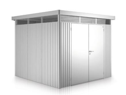 Biohort HighLine H3 tuinhuis 275x235x222 cm met dubbele deur metaal zilver metallic