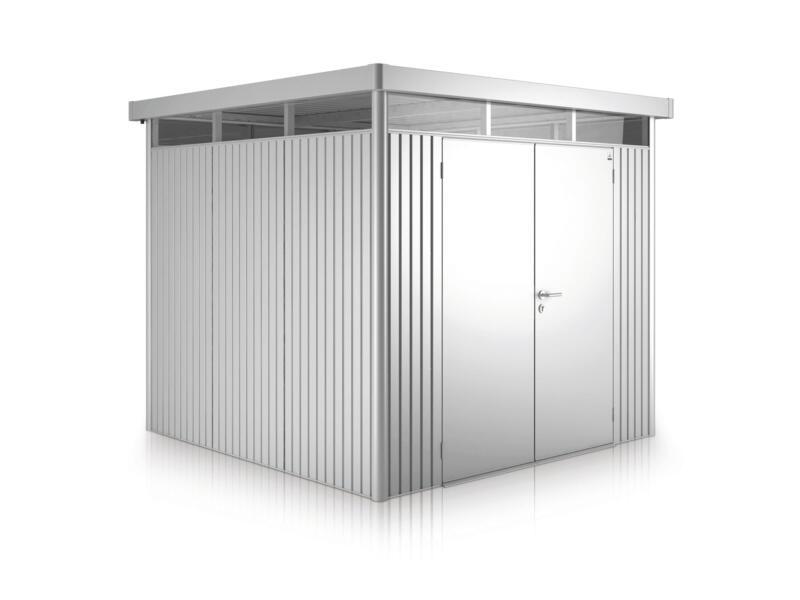 Biohort HighLine H5 tuinhuis 275x315x222 cm met dubbele deur metaal zilver metallic