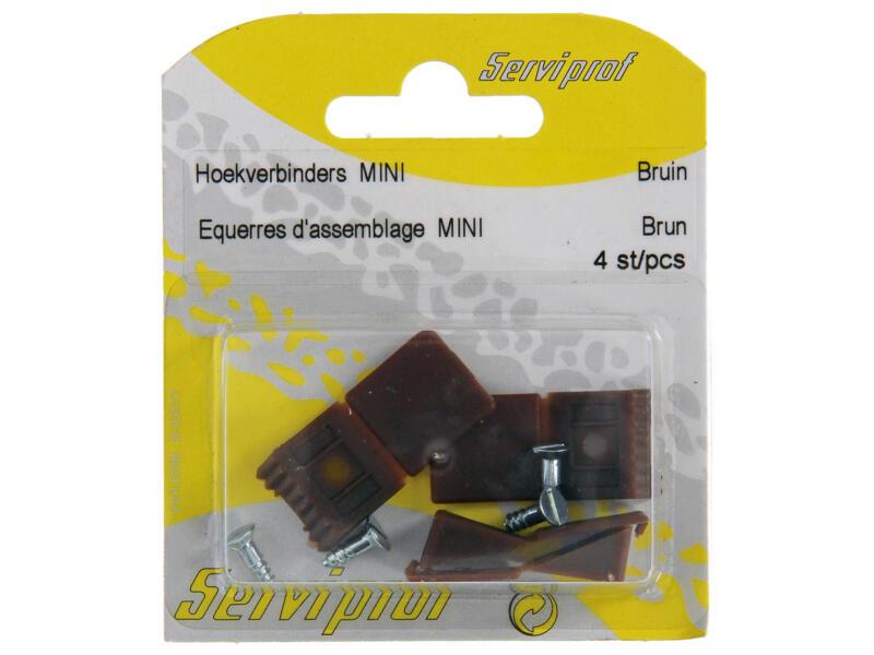 Hoekverbinder mini bruin 4 stuks