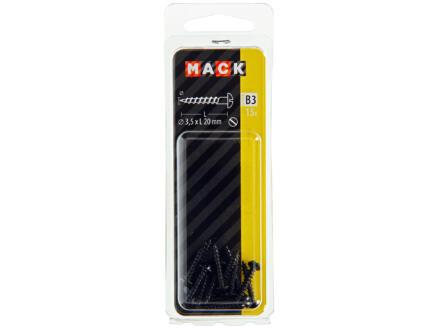 Mack Houtschroeven 20x3,5 mm zwart verzinkt 15 stuks