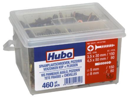 Hubo assortiment spaanplaatschroeven PZ2 met pluggen 460 stuks