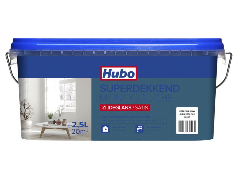 Hubo muur- en plafondverf superdekkend zijdeglans 2,5l petrolblauw