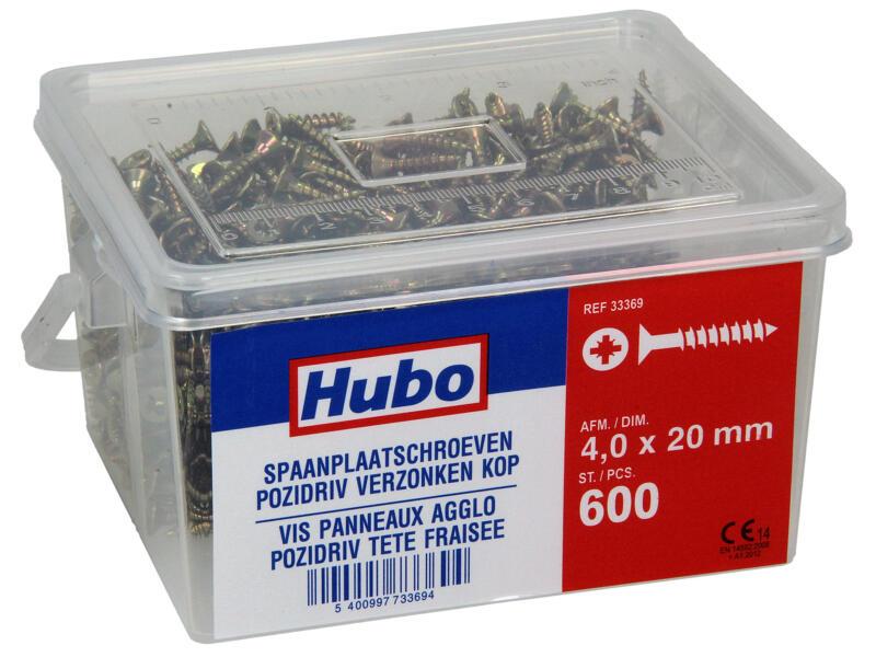 Hubo spaanplaatschroeven PZ2 20x4 mm 600 stuks