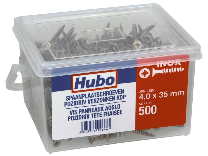 Hubo spaanplaatschroeven PZ2 35x4 mm inox 500 stuks