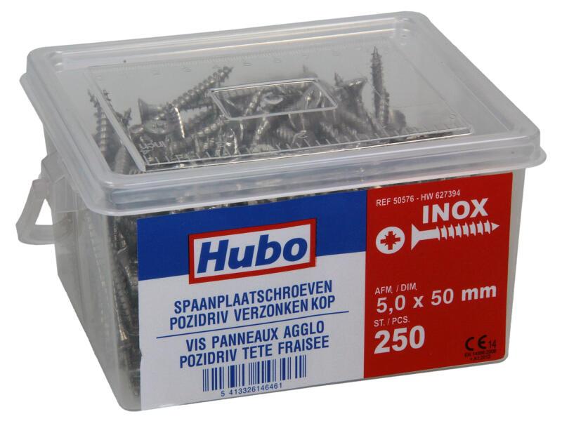 Hubo spaanplaatschroeven PZ2 50x5 mm inox 250 stuks