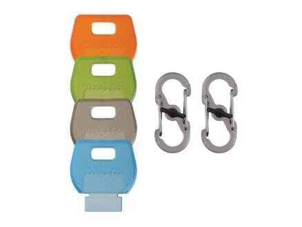 Nite Ize IdentiKey S-Biner S-karabijnhaak 27,94x25,91 mm kunststof + sleutelhoesje 4 stuks