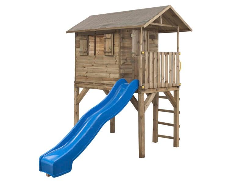 Jim cabane enfant sur pilotis imprégné + toboggan bleu