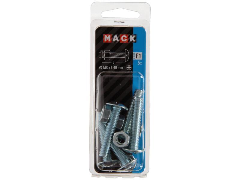 Mack Kachelbout met moer M8 40mm verzinkt 5 stuks