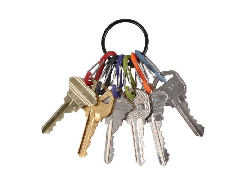 Nite Ize KeyRing sleutelring zwart + S-Biner S-karabijnhaak 6 stuks