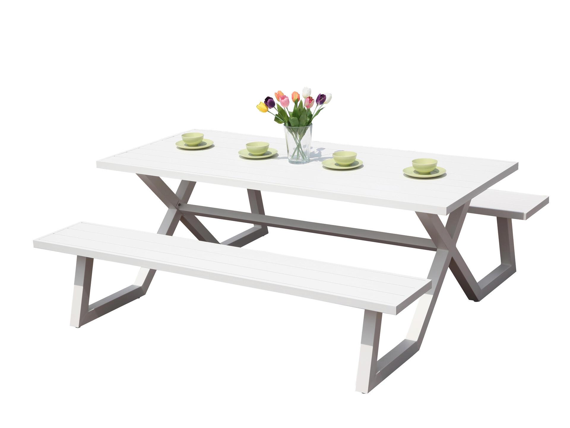 Garden Plus King table de pique-nique 9x9 cm blanc