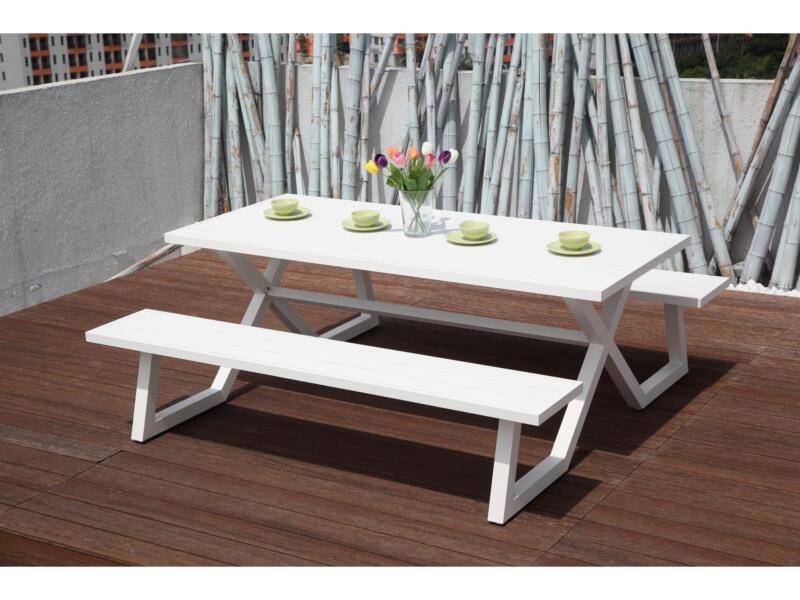 Garden Plus King table de pique-nique 200x189 cm blanc