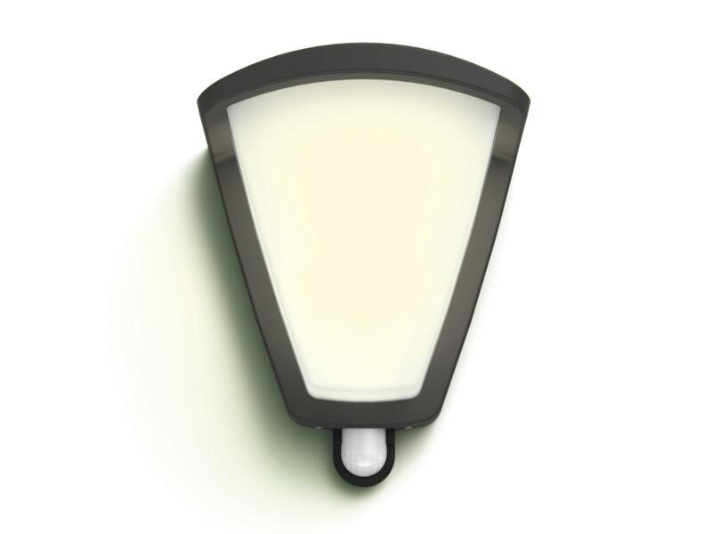 Philips Kiskadee wandlamp E27 max. 42W dimbaar met PIR antraciet