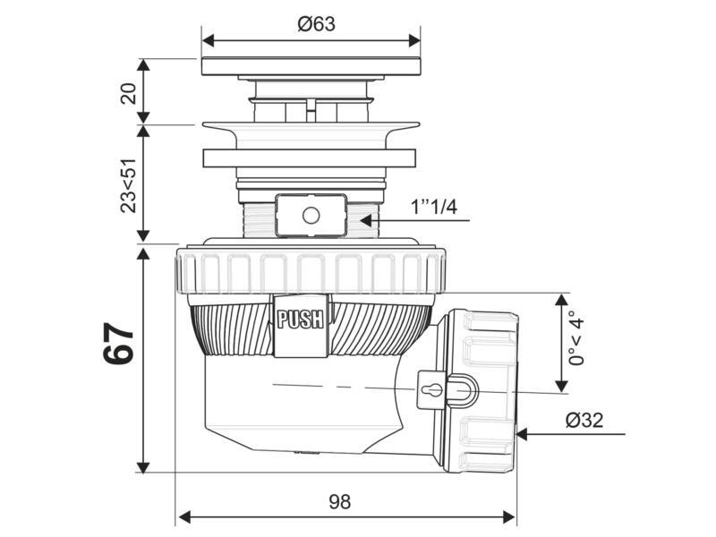 Wirquin Kit siphon XS Pure écoulement libre lavabo