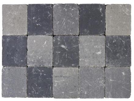 Klinkers getrommeld 15x15x5 cm grijs en zwart