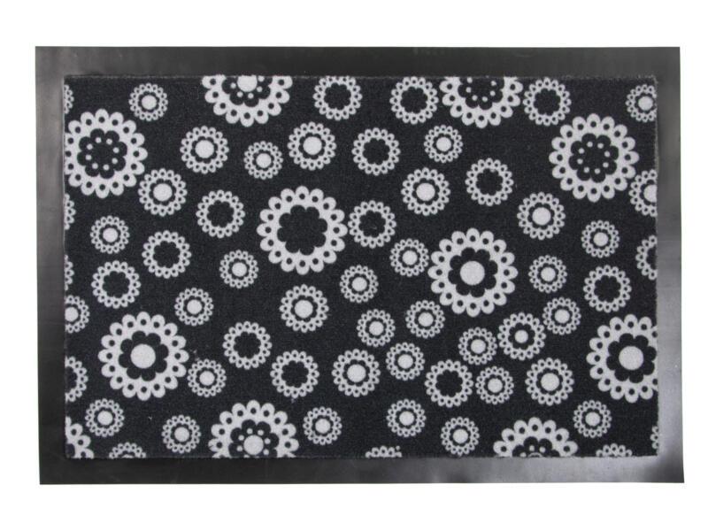 Kristal paillasson fleurs 60x40 cm blanc/noir
