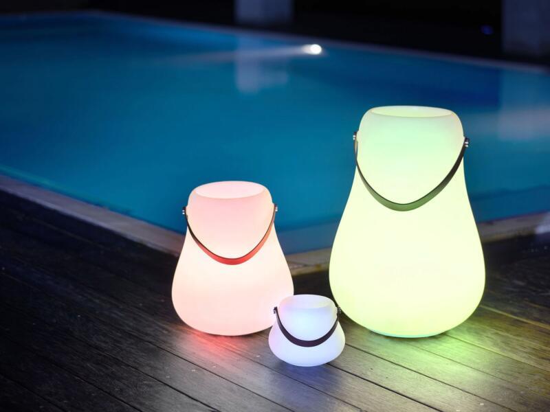 LED bloempot 34cm wit