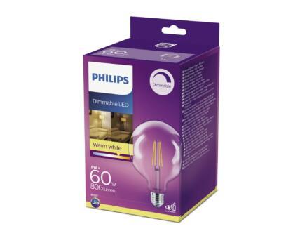 Philips LED bollamp filament E27 8W warm dimbaar