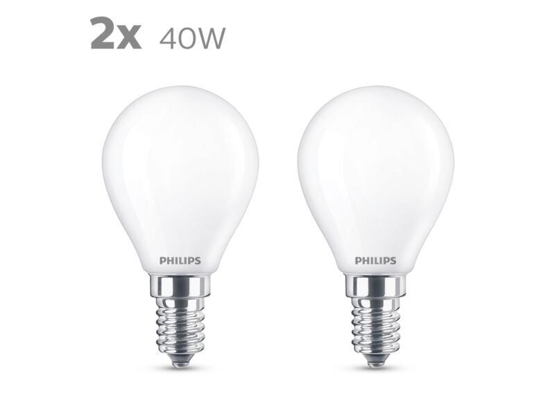 Philips LED bollamp mat E14 4,3W 2 stuks