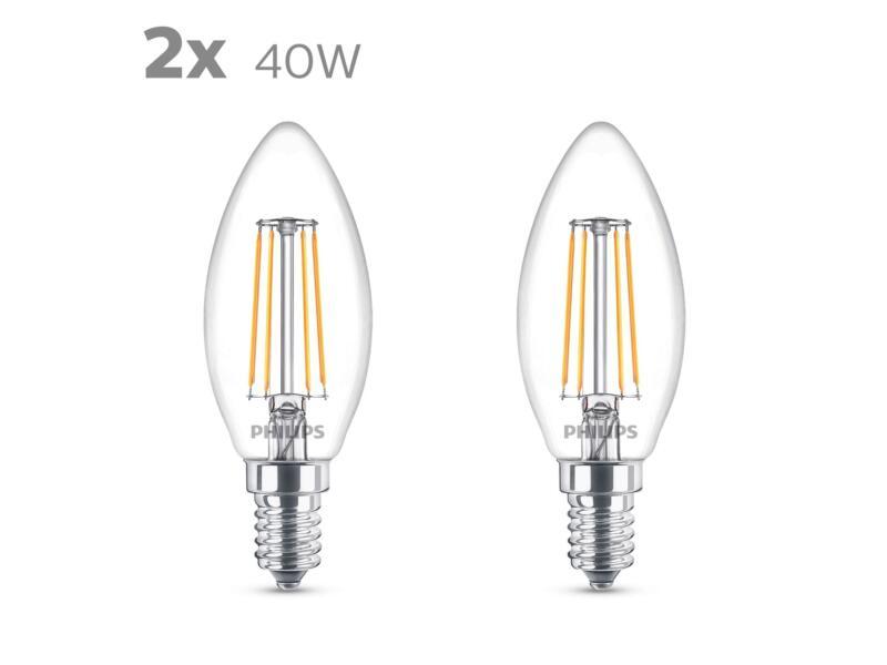 Philips LED kaarslamp filament E14 4,3W 2 stuks
