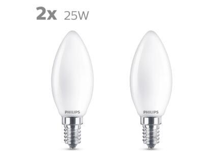 Philips LED kaarslamp mat E14 2,2W 2 stuks