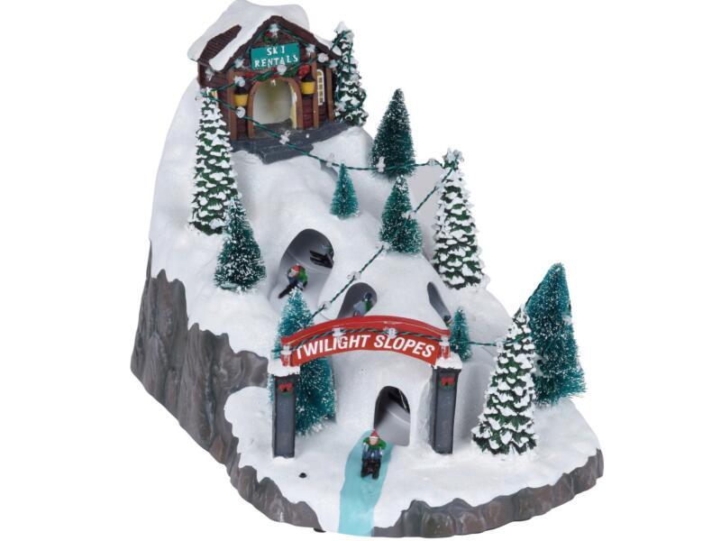 LED kersttafereel ski park 34,2x23x25,5 cm