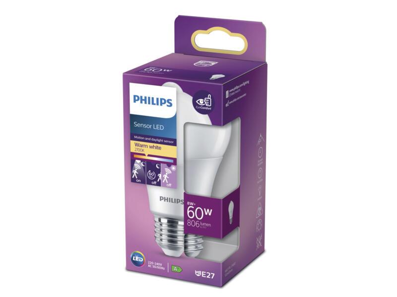 Philips LED peerlamp E27 8W met sensor