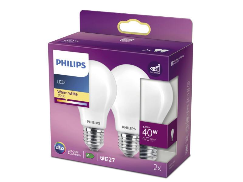 Philips LED peerlamp mat glas E27 4,5W 2 stuks