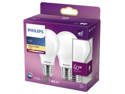 Philips LED peerlamp mat glas E27 7W 2 stuks