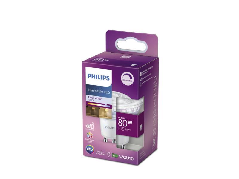 Philips LED spot GU10 6,2W dimbaar koud wit
