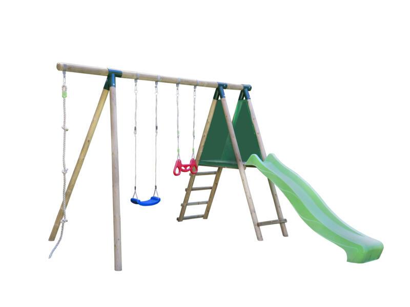 Gardenas Leon speeltoestel + glijbaan groen en accessoires