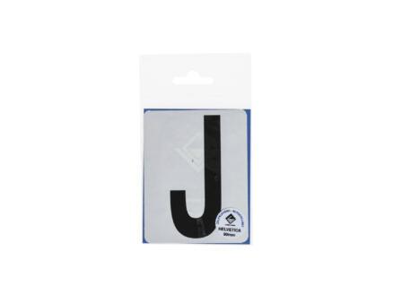 Lettre autocollante J 90mm noir mat