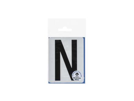 Lettre autocollante N 90mm noir mat
