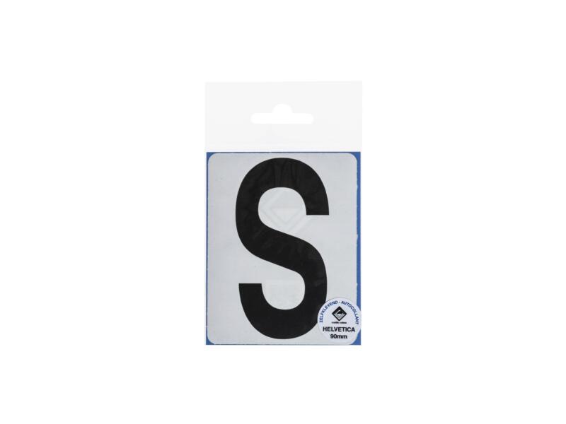 Lettre autocollante S 90mm noir mat