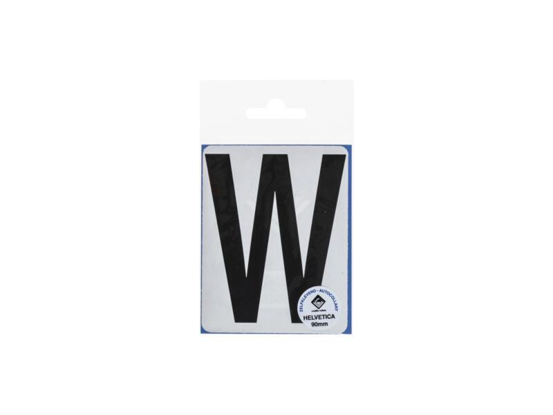 Lettre autocollante W 90mm noir mat