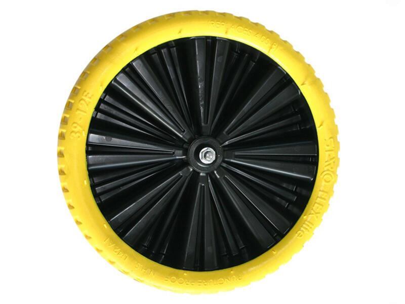 Altrad Limex kruiwagenwiel volle band 400mm kunststof velg geel