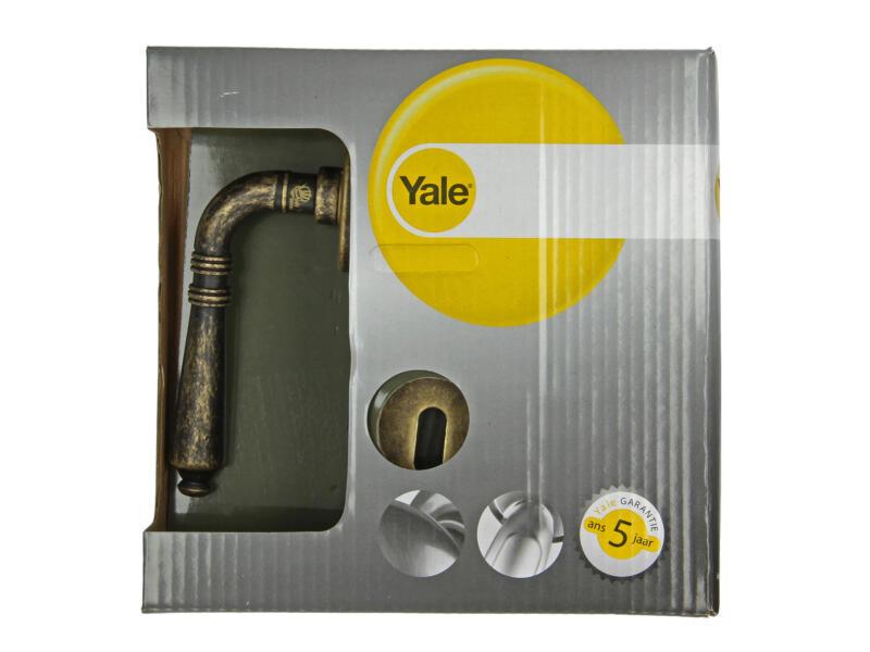Yale Linea BB poignée de porte avec rosaces 50mm set complet laiton rustique