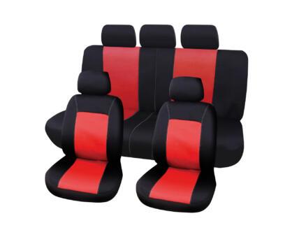 Carpoint Lisboa housse de siège auto noir/rouge 9 pièces