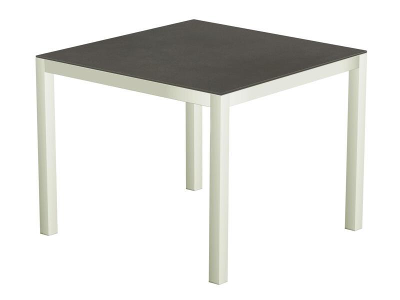 Luxury Cement table de jardin 90x90 cm blanc/anthracite