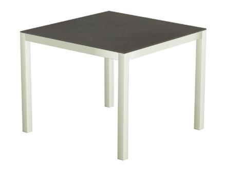 Luxury Cement tuintafel 90x90 cm wit/antraciet