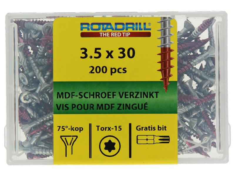 Rotadrill MDF-schroeven TX15 30x3,5 mm verzinkt 200 stuks
